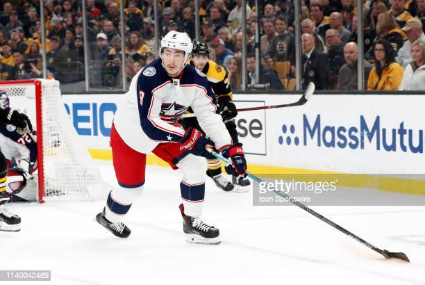 Columbus Blue Jackets defenseman Zach Werenski looks to clear the puck during Game 2 of the Second Round 2019 Stanley Cup Playoffs between the Boston...