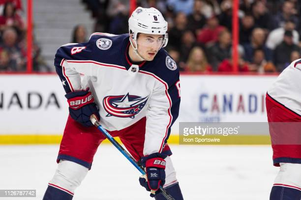 Columbus Blue Jackets defenseman Zach Werenski prepares for a face-off during second period National Hockey League action between the Columbus Blue...