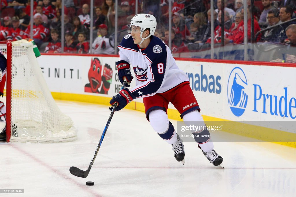 Columbus Blue Jackets defenseman Zach Werenski (8) skates during the first period of the National Hockey League game between the New Jersey Devils and the Columbus Blue Jackets on February 20, 2018, at the Prudential Center in Newark, NJ.