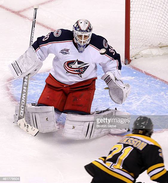 Columbus Blue Jackets goalie Curtis McElhinney makes a save on Boston Bruins left wing Loui Eriksson in the third period The Boston Bruins took on...