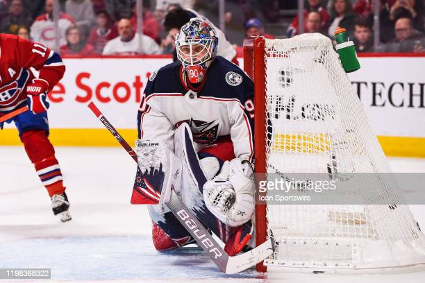 Columbus Blue Jackets goalie Elvis Merzlikins tracks the play during the Columbus Blue Jackets versus the Montreal Canadiens game on February 02 at...