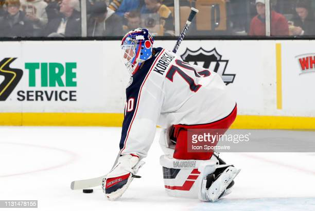 Columbus Blue Jackets goalie Joonas Korpisalo shields the puck during a game between the Boston Bruins and the Columbus Blue Jackets on March 16 at...