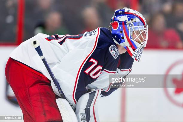 Columbus Blue Jackets Goalie Joonas Korpisalo waits for play to resume during second period National Hockey League action between the Columbus Blue...