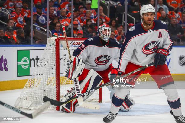 Columbus Blue Jackets Goalie Sergei Bobrovsky and Columbus Blue Jackets Defenceman Seth Jones watch the play during the Edmonton Oilers game versus...