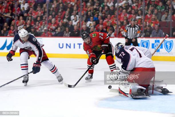 Columbus Blue Jackets goalie Sergei Bobrovsky blocks a shot from Chicago Blackhawks left wing Artemi Panarin during the first period of a game...