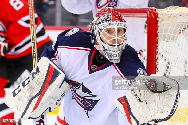Columbus Blue Jackets goalie Sergei Bobrovsky during the third period of the National Hockey League game between the New Jersey Devils and the...