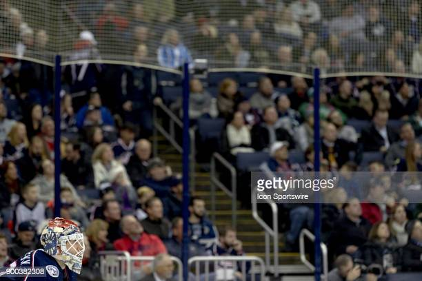 Columbus Blue Jackets goalie Sergei Bobrovsky looks on during a game between the Columbus Blue Jackets and the Edmonton Oilers on December 12 2017 at...