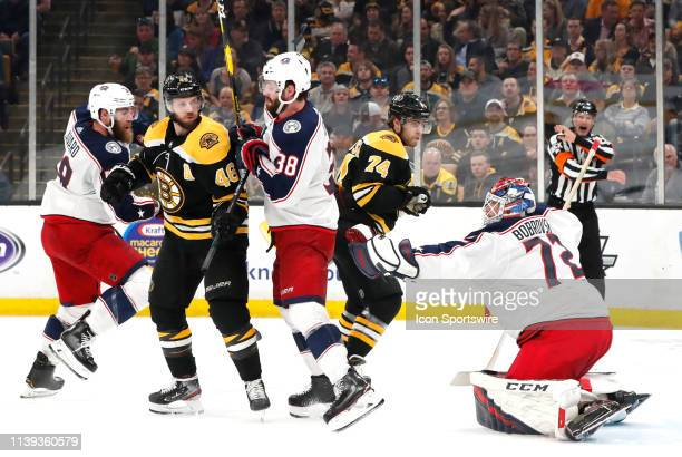 Columbus Blue Jackets goalie Sergei Bobrovsky makes a glove save during Game 1 of the Second Round 2019 Stanley Cup Playoffs between the Boston...