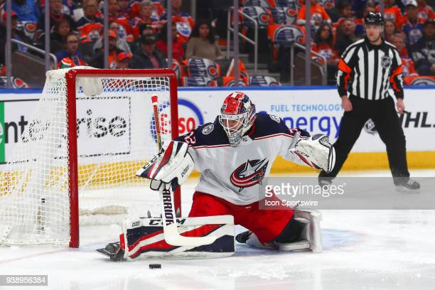 Columbus Blue Jackets Goalie Sergei Bobrovsky makes a save in the first period during the Edmonton Oilers game versus the Columbus Blue Jackets game...