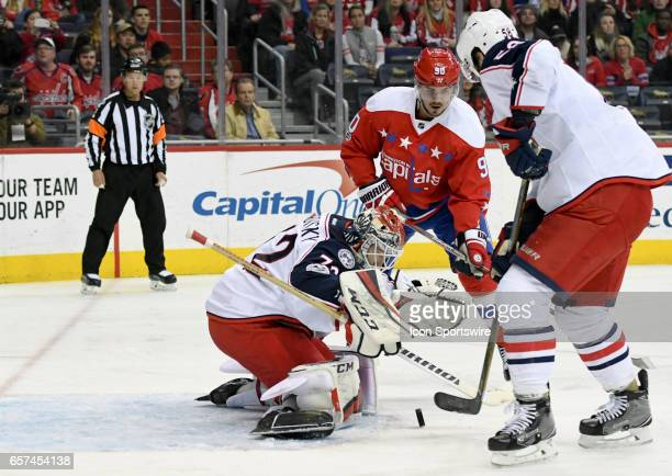 Columbus Blue Jackets goalie Sergei Bobrovsky makes a save on a second period shot by Washington Capitals left wing Marcus Johansson on March 23 at...