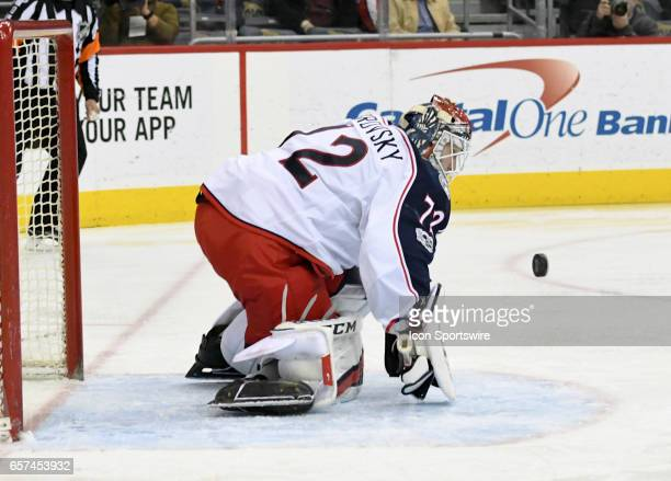Columbus Blue Jackets goalie Sergei Bobrovsky makes a second period save against the Washington Capitals on March 23 at the Verizon Center in...