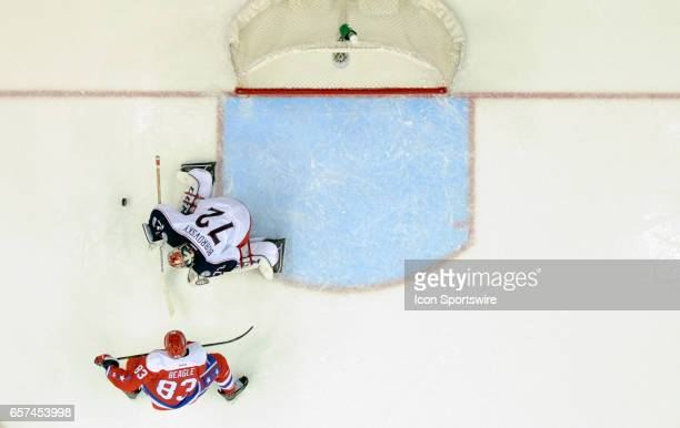 Columbus Blue Jackets goalie Sergei Bobrovsky makes a second period save on a shot by Washington Capitals center Jay Beagle on March 23 at the...