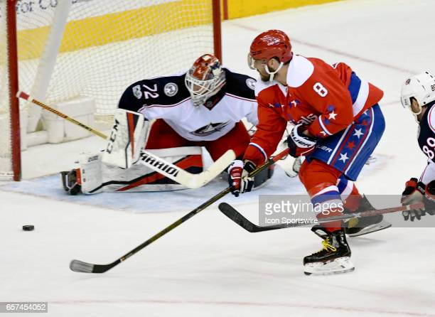 Columbus Blue Jackets goalie Sergei Bobrovsky makes a third period save on shot by Washington Capitals left wing Alex Ovechkin on March 23 at the...