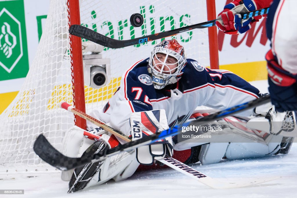 Columbus Blue Jackets goalie Sergei Bobrovsky (72) watches the puck being deviated during the third period of the NHL game between the Columbus Blue Jackets and the Montreal Canadiens on November 27, 2017, at the Bell Centre in Montreal, QC
