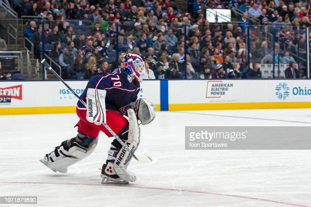 Columbus Blue Jackets goaltender Joonas Korpisalo sprints back to the bench in a game between the Columbus Blue Jackets and the Vancouver Canucks on...