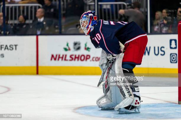 Columbus Blue Jackets goaltender Joonas Korpisalo stays focused in a game between the Columbus Blue Jackets and the Washington Capitals on December...