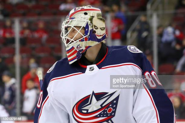 Columbus Blue Jackets goaltender Matiss Kivlenieks during warm ups prior to the National Hockey League game between the New Jersey Devils and the...