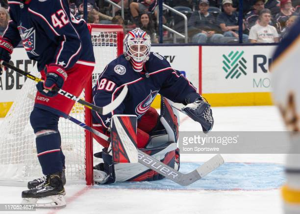 Columbus Blue Jackets goaltender Matiss Kivlenieks looks on during the preseason game between the Buffalo Sabres and the Columbus Blue Jackets at...
