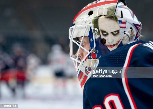 Columbus Blue Jackets goaltender Matiss Kivlenieks looks on in warmups prior to the game between the Columbus Blue Jackets and the Florida Panthers...