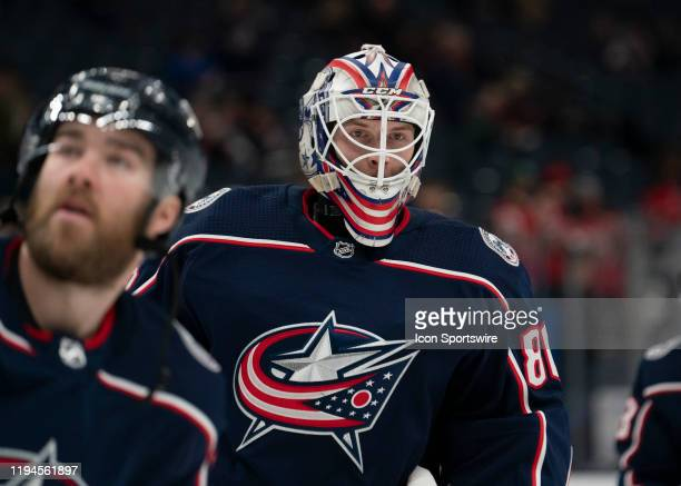 Columbus Blue Jackets goaltender Matiss Kivlenieks skates in warmups prior to the game between the Columbus Blue Jackets and the New Jersey Devils at...