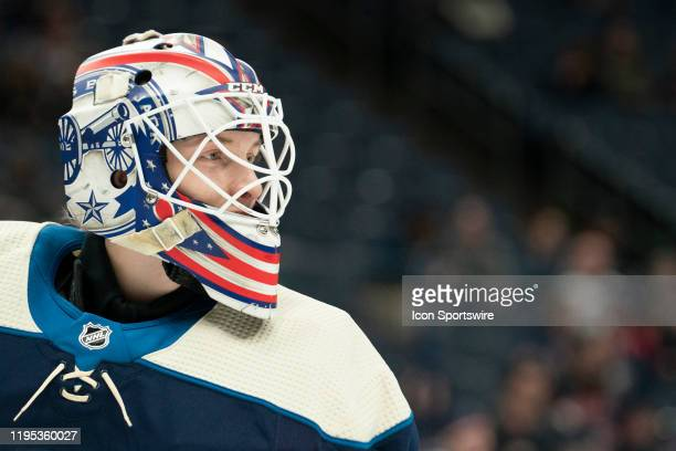 Columbus Blue Jackets goaltender Matiss Kivlenieks skates in warmups prior to the game between the Columbus Blue Jackets and the Winnipeg Jets at...