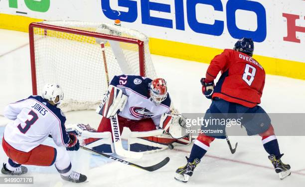 Columbus Blue Jackets goaltender Sergei Bobrovsky blocks a shot by Washington Capitals left wing Alex Ovechkin during the first round Stanley Cup...