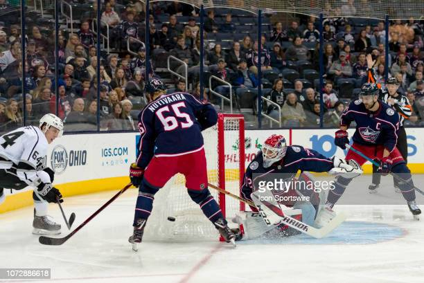 Columbus Blue Jackets goaltender Sergei Bobrovsky blocks a shot in a game between the Columbus Blue Jackets and the Los Angeles Kings on December 13...