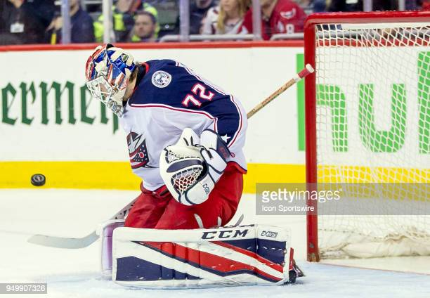 Columbus Blue Jackets goaltender Sergei Bobrovsky blocks a shot during the first round Stanley Cup playoff game 5 between the Washington Capitals and...