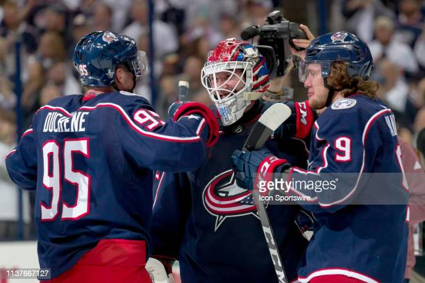 Columbus Blue Jackets goaltender Sergei Bobrovsky celebrates with Columbus Blue Jackets center Matt Duchene and Columbus Blue Jackets left wing...