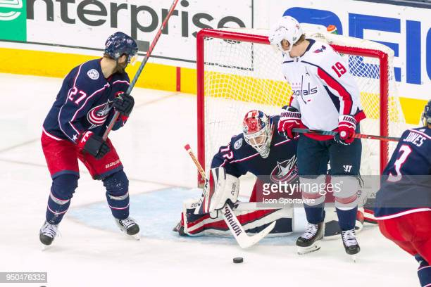 Columbus Blue Jackets goaltender Sergei Bobrovsky deflects a shot during game 6 in the first round of the Stanley Cup Playoffs at Nationwide Arena in...