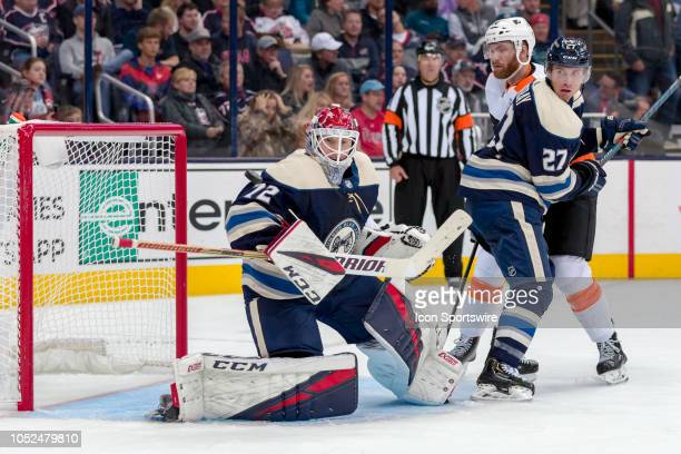 Columbus Blue Jackets goaltender Sergei Bobrovsky deflects a shot in the first period of a game between the Columbus Blue Jackets and the...