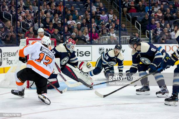 Columbus Blue Jackets goaltender Sergei Bobrovsky deflects a shot from Philadelphia Flyers right wing Wayne Simmonds in the second period of a game...