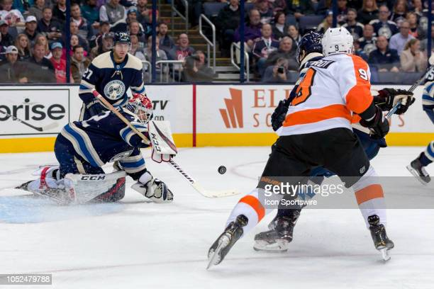 Columbus Blue Jackets goaltender Sergei Bobrovsky deflects a shot from Philadelphia Flyers defenseman Ivan Provorov in the first period of a game...
