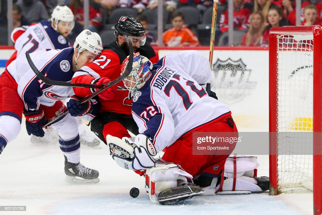 Columbus Blue Jackets goaltender Sergei Bobrovsky (72) during the first period of the National Hockey League game between the New Jersey Devils and the Columbus Blue Jackets on February 20, 2018, at the Prudential Center in Newark, NJ.