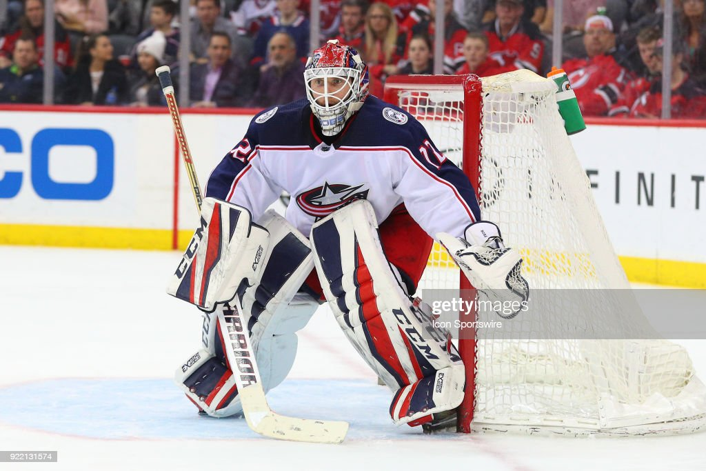 Columbus Blue Jackets goaltender Sergei Bobrovsky (72) during the third period of the National Hockey League game between the New Jersey Devils and the Columbus Blue Jackets on February 20, 2018, at the Prudential Center in Newark, NJ.