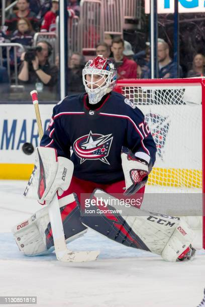 Columbus Blue Jackets goaltender Sergei Bobrovsky focuses on the puck in a game between the Columbus Blue Jackets and the Carolina Hurricanes on...