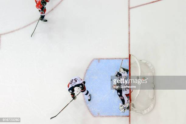 Columbus Blue Jackets goaltender Sergei Bobrovsky gives up a second period goal to the Washington Capitals on February 9 at the Capital One Arena in...
