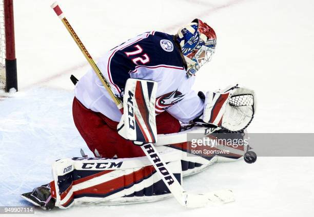 Columbus Blue Jackets goaltender Sergei Bobrovsky makes a save in warm ups before the first round Stanley Cup playoff game 5 between the Washington...