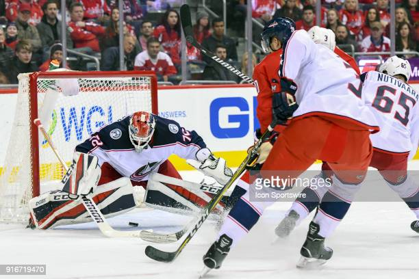 Columbus Blue Jackets goaltender Sergei Bobrovsky makes a save in the first period on shot by Washington Capitals center Lars Eller on February 9 at...