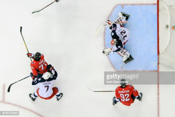 Columbus Blue Jackets goaltender Sergei Bobrovsky makes a second period save on a shot by Washington Capitals right wing TJ Oshie on February 9 at...