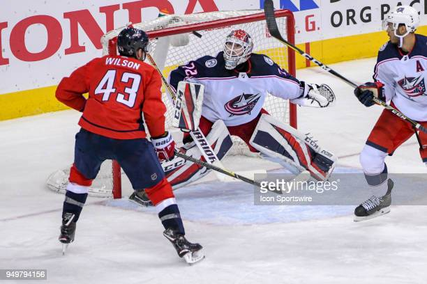 Columbus Blue Jackets goaltender Sergei Bobrovsky makes a second period save on shot by Washington Capitals right wing Tom Wilson on April 21 at the...
