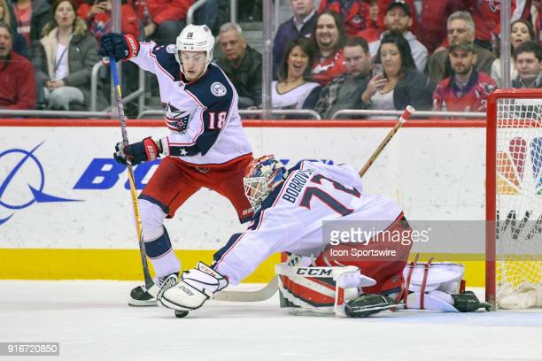 Columbus Blue Jackets goaltender Sergei Bobrovsky makes a third period save on February 9 at the Capital One Arena in Washington DC The Washington...