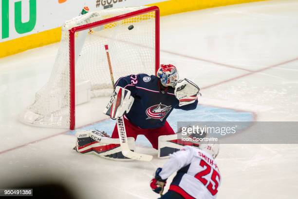 Columbus Blue Jackets goaltender Sergei Bobrovsky misses a shot bro Washington Capitals right wing Devante SmithPelly that went in during game 6 in...