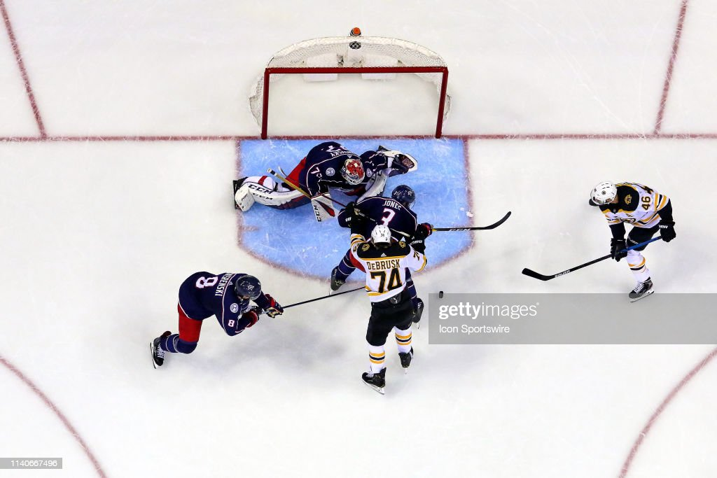 NHL: APR 30 Stanley Cup Playoffs Second Round - Bruins at Blue Jackets : News Photo