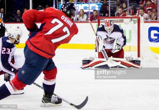 Columbus Blue Jackets goaltender Sergei Bobrovsky stops a shot from Washington Capitals right wing TJ Oshie during the first round Stanley Cup...