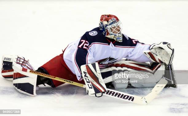 Columbus Blue Jackets goaltender Sergei Bobrovsky stretches before the first round Stanley Cup playoff game 5 between the Washington Capitals and the...