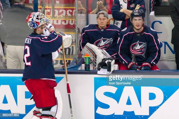 Columbus Blue Jackets goaltender Sergei Bobrovsky wipes sweat off his face during game 6 in the first round of the Stanley Cup Playoffs at Nationwide...
