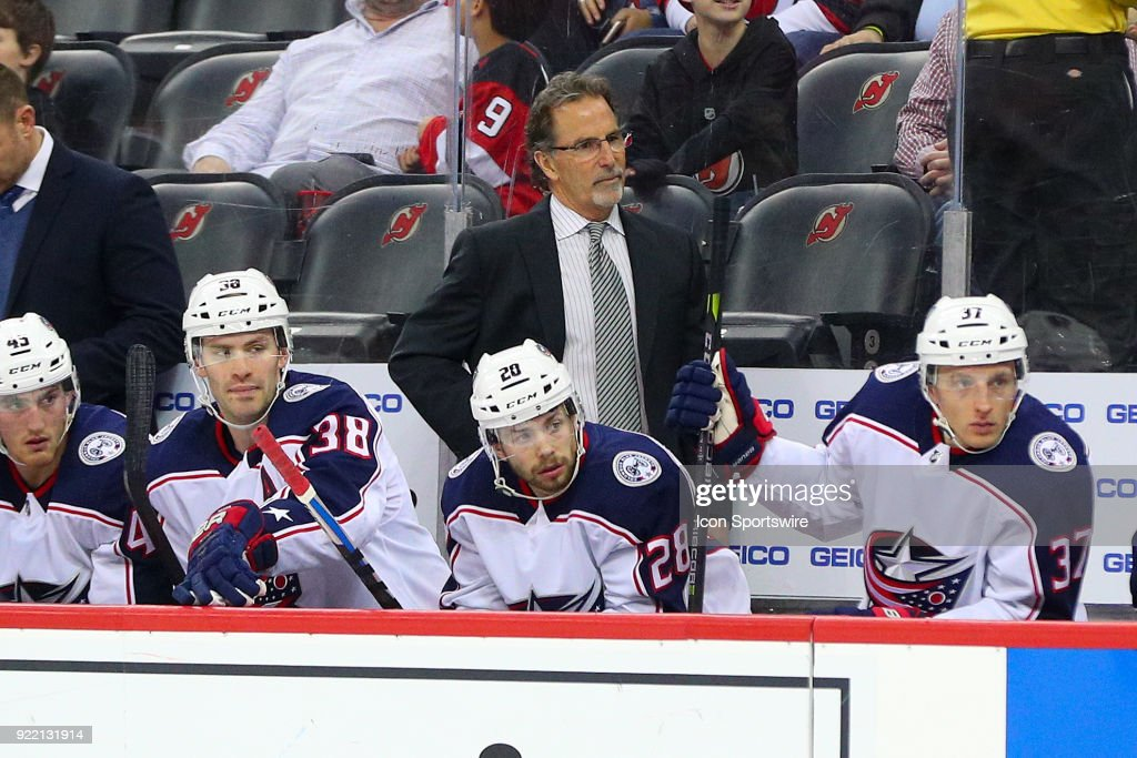 Columbus Blue Jackets head coach John Tortorella during the first period of the National Hockey League game between the New Jersey Devils and the Columbus Blue Jackets on February 20, 2018, at the Prudential Center in Newark, NJ.