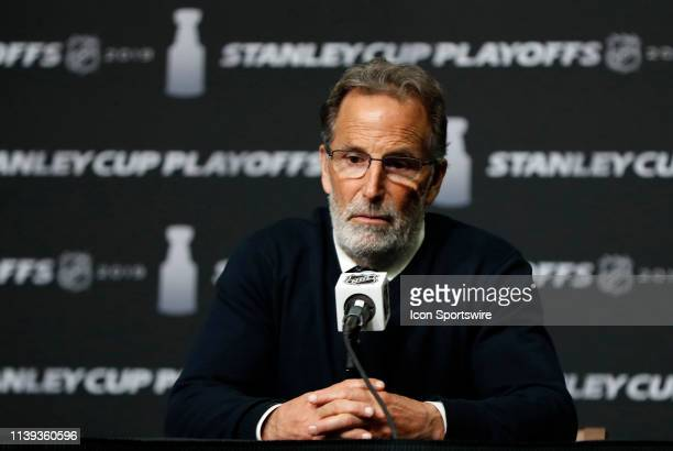 Columbus Blue Jackets head coach John Tortorella ponders a question after Game 1 of the Second Round 2019 Stanley Cup Playoffs between the Boston...