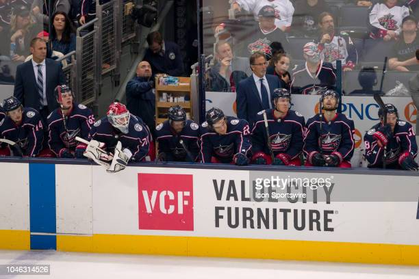 Columbus Blue Jackets head coach John Tortorella watches as six men are on the ice and Columbus Blue Jackets goaltender Sergei Bobrovsky sits on the...